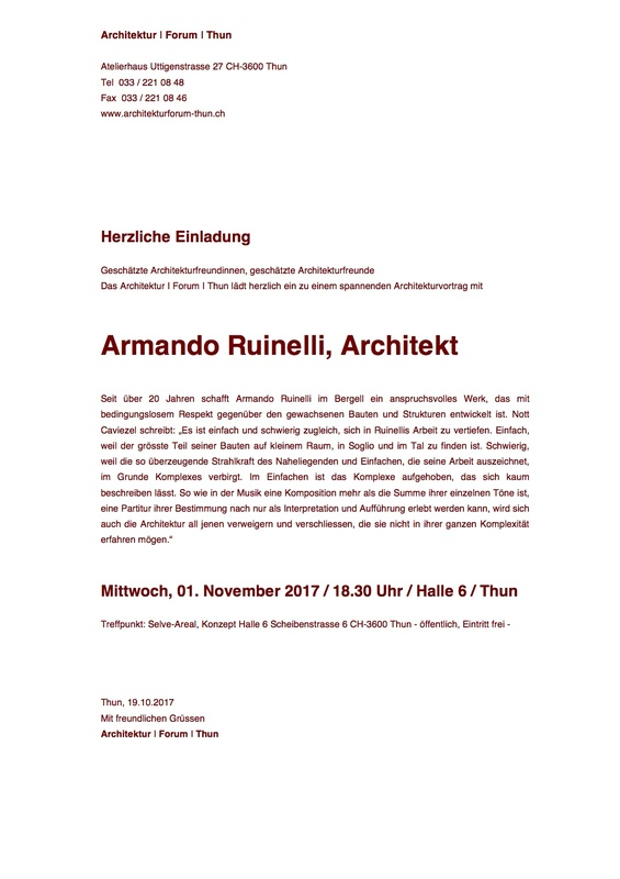 Architekturforum Thun - Armando Ruinelli Architekturvortrag