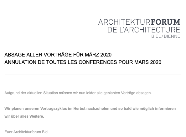 Architekturforum Biel/Bienne – Vortragsreihe 2020, BUOL & ZÜND